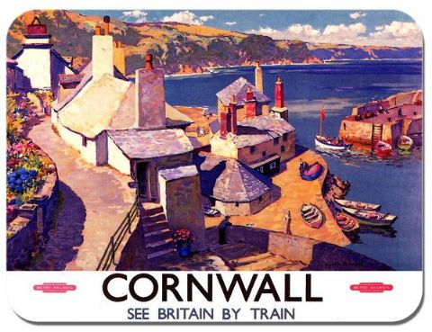 British Railways Cornwall Vintage Poster Mouse Mat. See Britain Train Mouse Pad